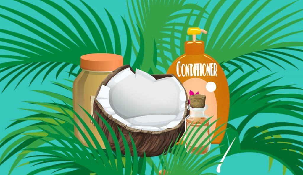Shampoo, conditioner and a coconut