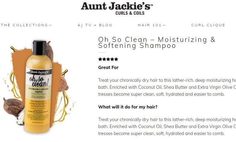 Aunt Jackie's Oh So Clean Shampoo on their website