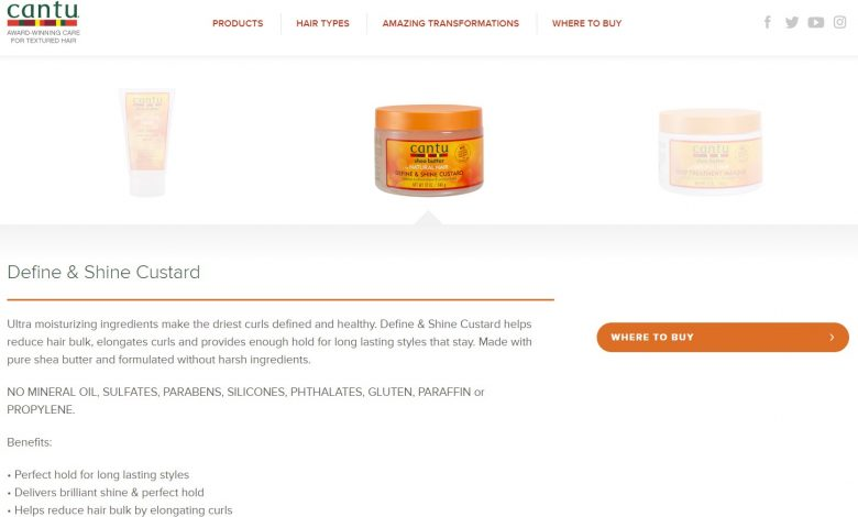 Cantu Define and Shine Custard on their website
