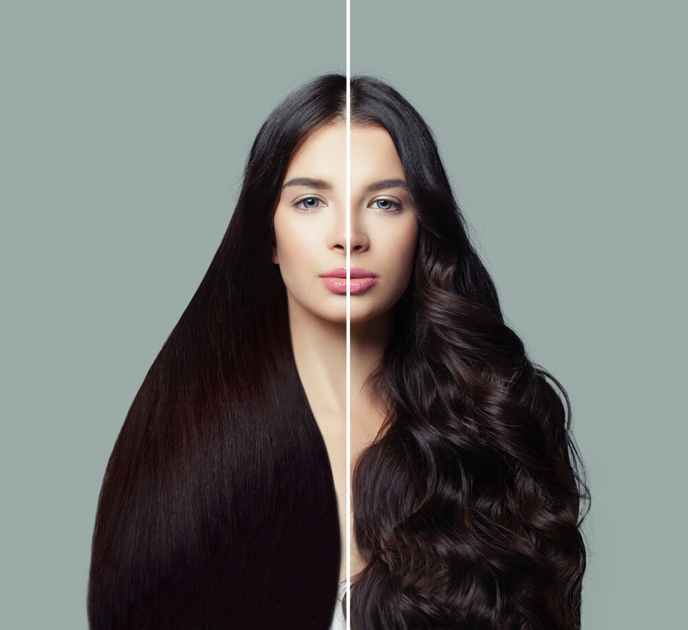 A before and after showing a woman with straight and wavy hair