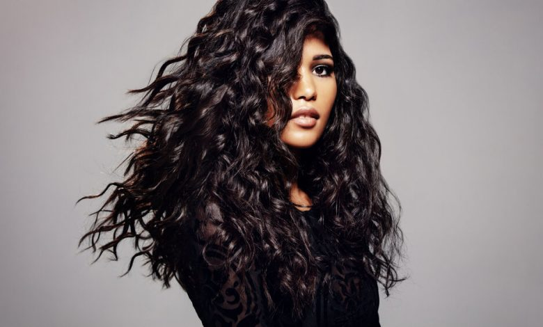 A girl with wavy hair